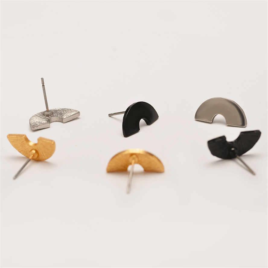2018 nowy geometria półkole księżyc stadniny kolczyki dla kobiet proste stop Stud kolczyk Brincos dziewczyny Friends Party prezent Hot biżuteria