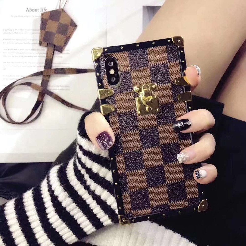 ALLCHW Phone Cases for Iphone X 6 6S 7 8 Plus Vintage Luxury TPU Silicon Fashion Square Lattice Soft Back Cover