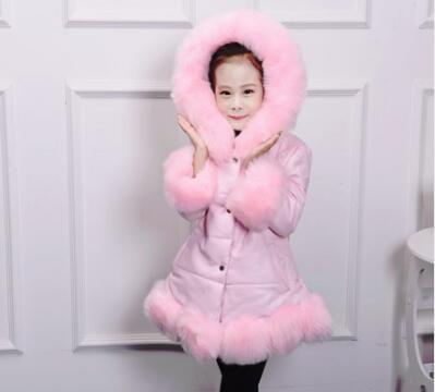 Hot sales 2018 Winter Fur Hooded Jacket Coat For Girls Coats Faux Leather Plush Winter  Piece Kids' Clothing Warm Jacket Coat winter fashion kids girls raccoon fur coat baby fur coats