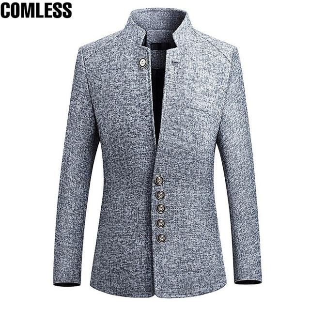 ブレザー男性 2019 春の新中国風ビジネスカジュアルスタンド襟男性ブレザースリムフィットメンズブレザージャケットビッグサイズ 5XL