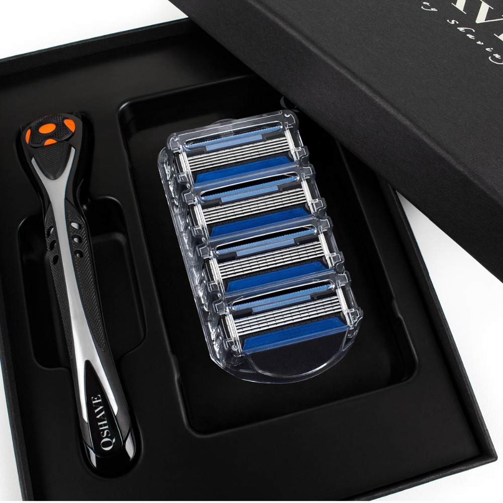 Qshave Black Spider Man Manual Shaving Razor With Beautiful Present Box Can Design Your Name On Handle(1pc Handle, 4pc X5 Blade)