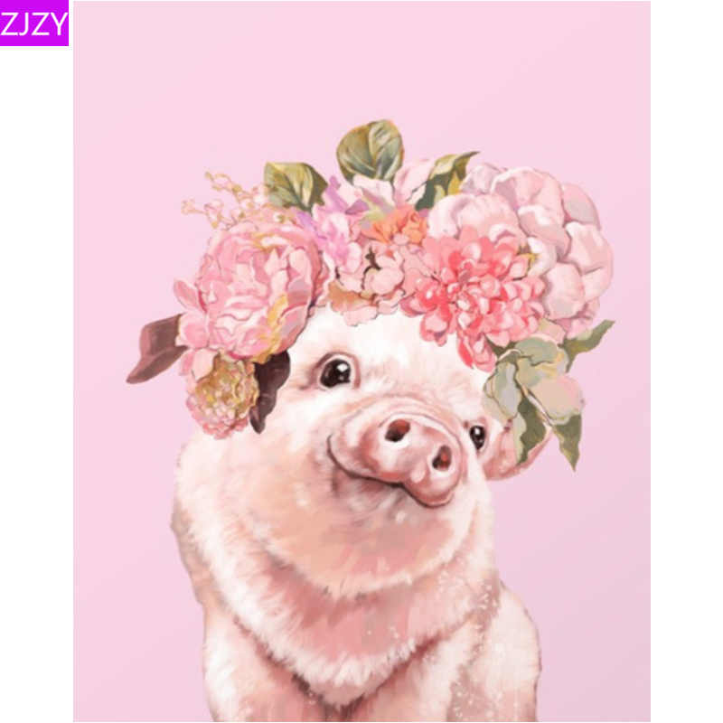 "Zjzy Baru 5D DIY Diamond Lukisan ""Pink Babi Hewan Peliharaan"" Diamond Bordir Cross Stitch Mosaik Gambar Berlian Imitasi Dekorasi Rumah LY745"