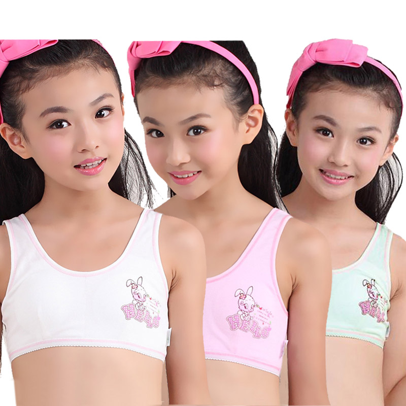 Children/kids/ Puberty Young girl student Teenagers cotton underwear cartoon character printing Training Bras camisole(8-12Y) photo shoot