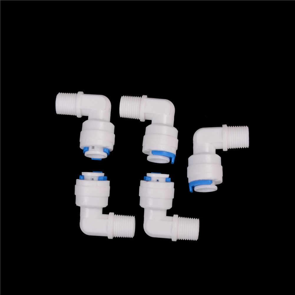 """5pcs 1/8 """"수나사-1/4"""" OD 튜브 PE 파이프 피팅 호스 엘보 퀵 커넥터 수족관 RO 워터 필터 역삼 투 시스템"""