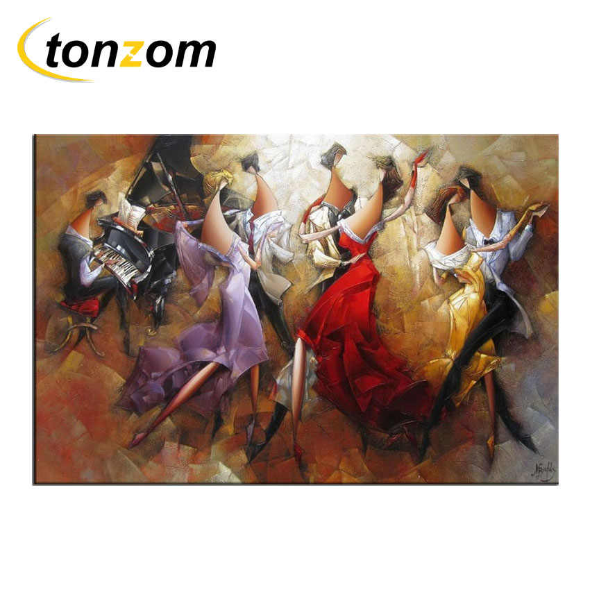 RIHE Music Ball Diy Painting By Numbers Piano Oil Painting Couples Cuadros Decoracion Acrylic Paint On Canvas Modern Wall Art