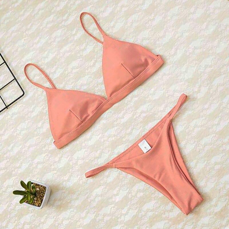 2020 Women Micro Bikini set Push Up Swimwear Solid Beach Bathing Suit Brazilian Thong Swimsuit For Girls Bikini Swim Suit Femme 6