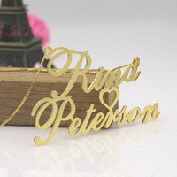 Gold Big Name Necklace Statement Necklace 2.8 inch Heart Deco, Custom Double Nameplate Pendent with Box Chain