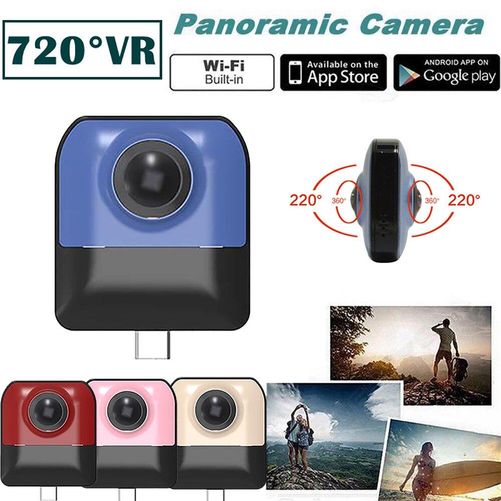 Мини Экшн камера Запись HD WiFi 720 градусов панорамный Спорт Вождение VR камера Спорт DV видео маленькая камера