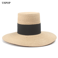 USPOP 2019 new natural raffia hat high top wide brim straw hat fashion female wide black ribbon beach hat summer sun hat