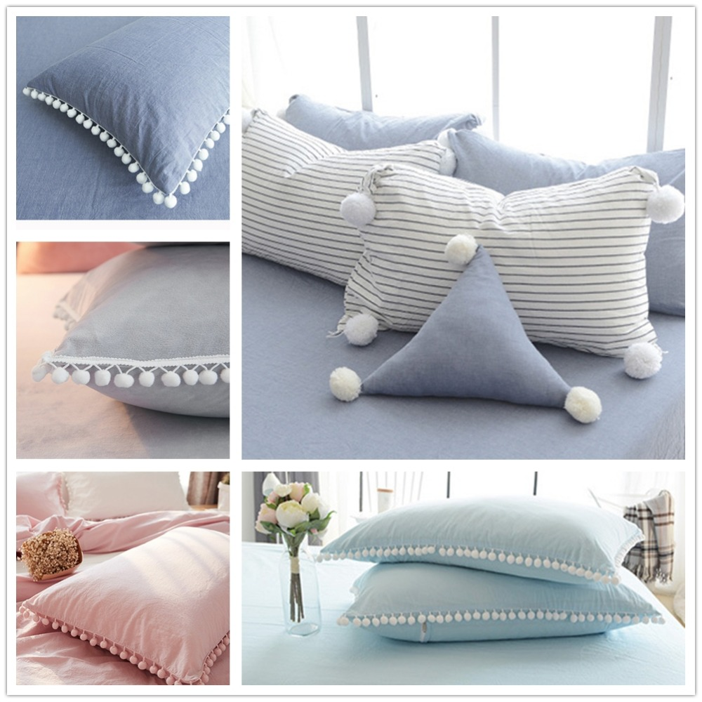 74x48cm solid pillow 100 washed cotton pom pom