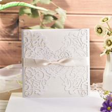 10pcs/lot Elegant White Square Invitation Card Delicate Carved Lace Wedding Cards with Bowknots for Supplies