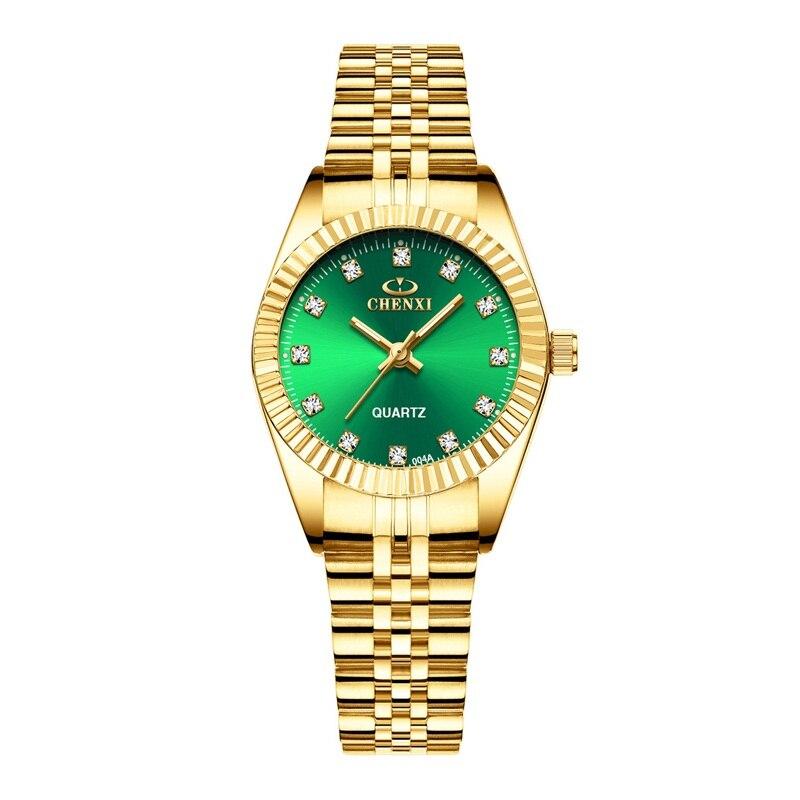 CHENXI Роскошные парные часы золотые модные часы для влюбленных из нержавеющей стали Кварцевые наручные часы для женщин и мужчин аналоговые наручные часы - Цвет: Women Green Dial