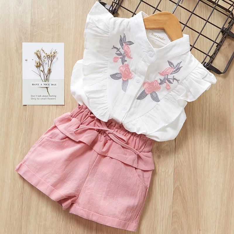 HTB1Ka4.a21H3KVjSZFHq6zKppXap Menoea Girls Suits 2020 Summer Style Kids Beautiful Floral Flower Sleeve Children O-neck Clothing Shorts Suit 2Pcs Clothes