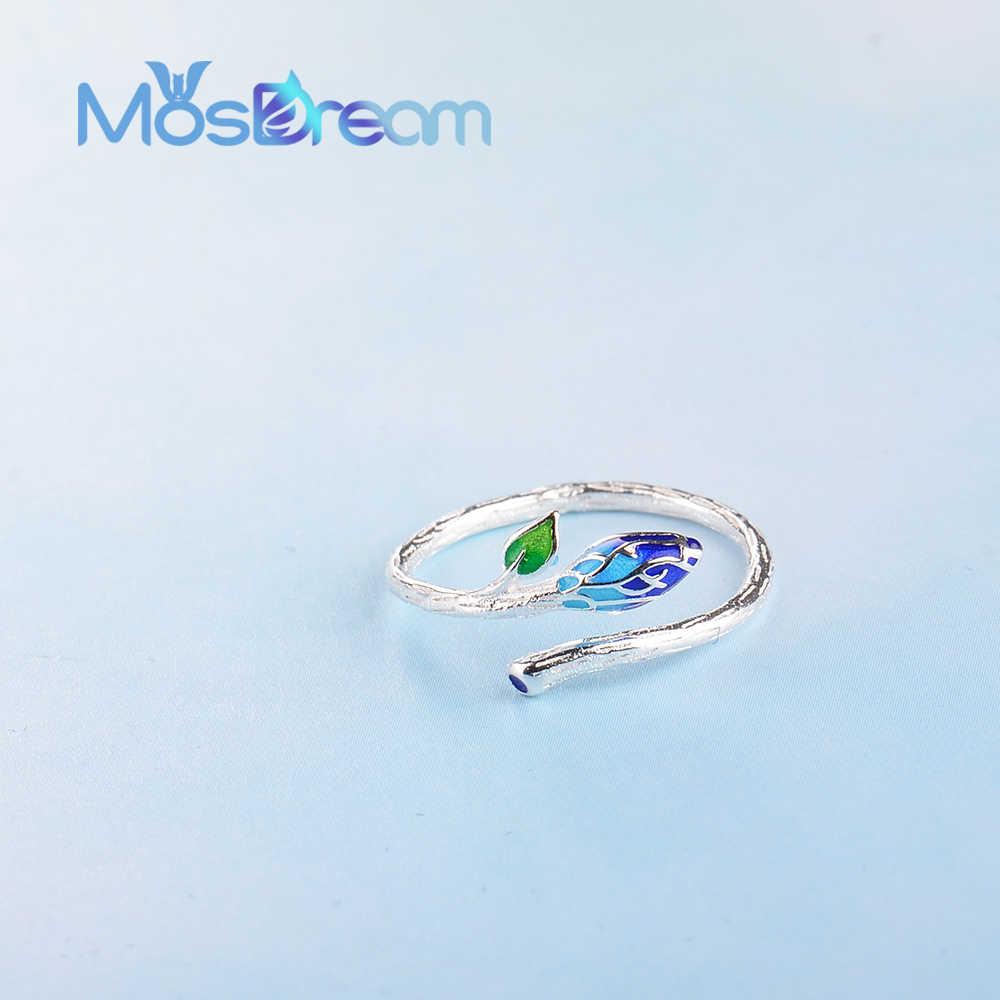 MosDream Vintage ใบสด s925 แหวนเงินเคลือบศิลปะชาติพันธุ์ Elegant เครื่องประดับสำหรับผู้หญิงพืชพลังงานแหวนของขวัญ