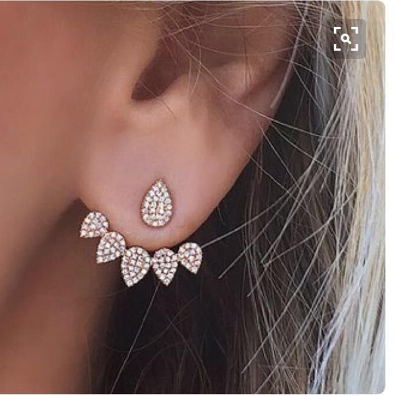 Korean Jewelry New Crystal Front Back Double Sided Stud Earrings For Women Fashion Ear Jacket Piercing Earing Koyle