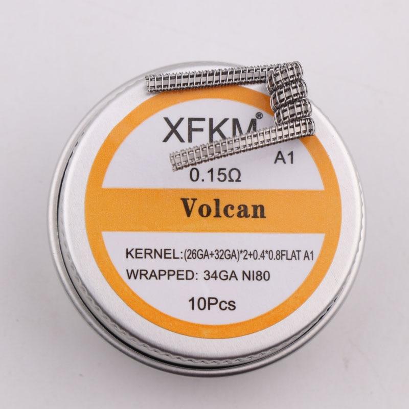 NEW XFKM 10pcs Prebuilt Coil Half Staggered Fused Clapton Coil 0.27ohm 32GA Heating Wire For RDA RBA DIY Atomizer