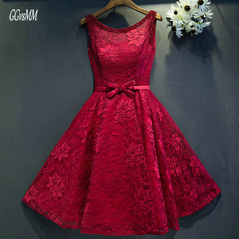 Sexy Burgundy   Prom     Dresses   Short 2019   Prom     Dress   Scoop Beading Lace Up Knee-Length Cheap Women Party Gown Evening Custom Made
