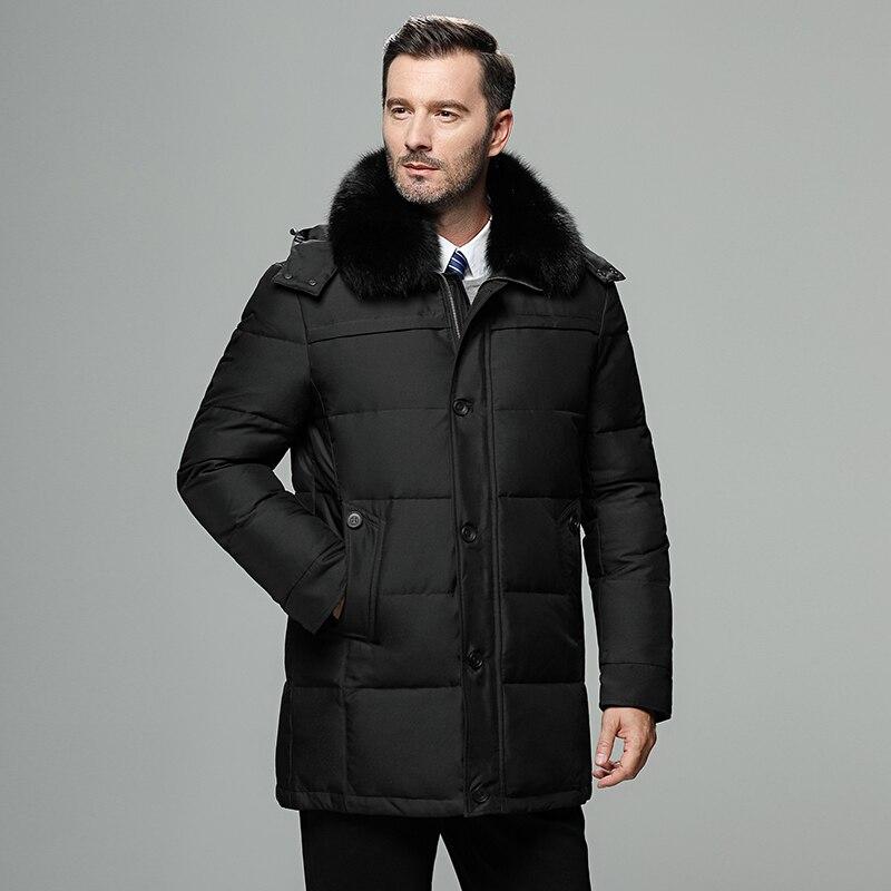 Chaqueta de plumón para hombre con cuello de piel, chaqueta de invierno de Rusia para hombre, abrigo largo a prueba de viento para hombre, chaqueta de plumón de pato blanco 4XL