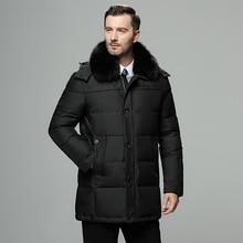 Fur collar men's down jacket brand Russia winter ja