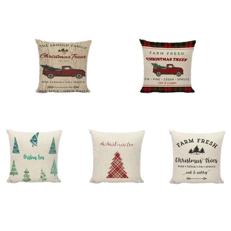Christmas Snowman Cushion Cover Linen Christmas Tree Snowflake Bell Print Kids Room Bedside Living Room Sofa Decorate Pillowcase