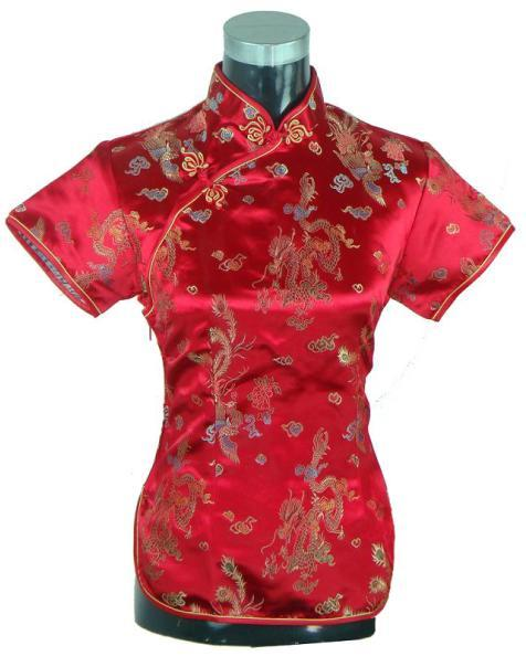 Summer Short Sleeve Red Women Shirt Tops Chinese Lady Traditional Satin Silk Blouse Novelty Dragon Clothing S M L XL XXL WS005