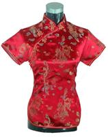 Summer Short Sleeve Red Women Shirt Tops Chinese Lady Traditional Satin Silk Blouse Novelty Dragon Clothing