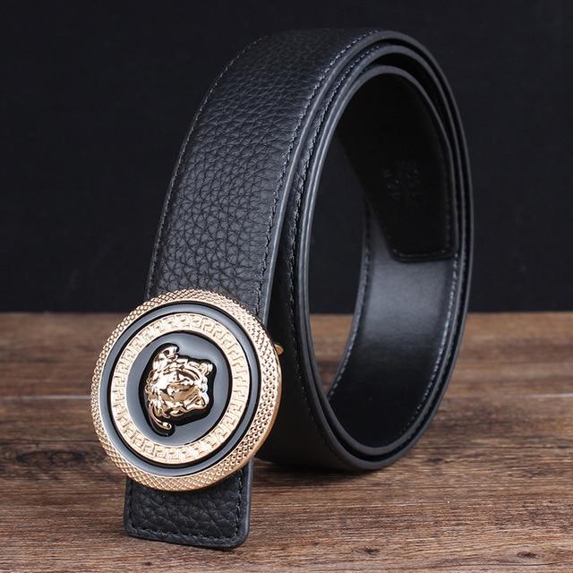 1557cc9f667c2 Black Brown Cowskin Buckle 105-125CM Mens Belts Luxury Designer Belts Men  High Quality Jeans Accessories Leather Belt Men #Q44