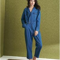 Jumpsuit Denim Women Casual Romper Long Sleeve Blue turn down collar Jeans Bodysuit Overalls