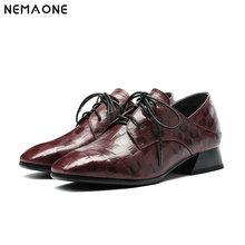 NNEMAONE New Ladies Pumps Casual Fashion Women British Retro Genuine Leather Shoes Low Heels Woman Round Head Lace Shoes