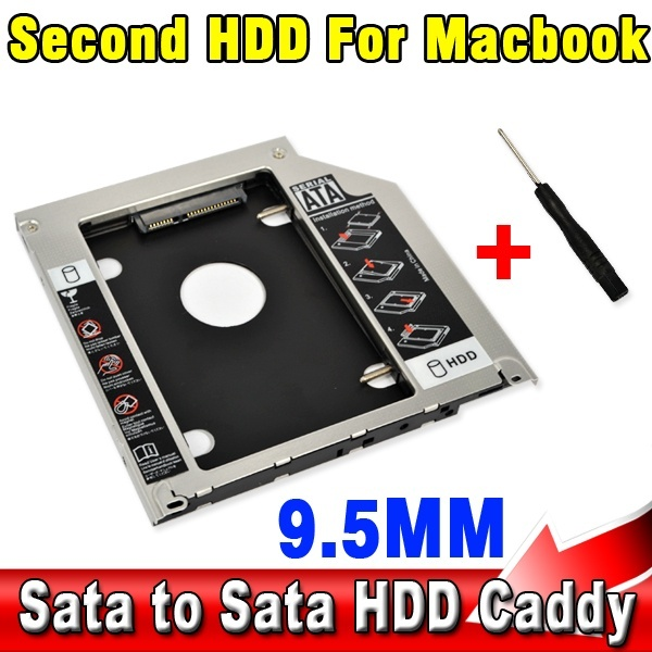"""9.5mm Second HDD Caddy 2nd SATA 2.5"""" Hard Disk Drive SSD Enclosure for Apple Macbook Pro A1278 A1286 A1297 CD ROM Optical Bay"""