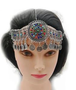 Vintage kolorowy koralik moneta Tassel taniec głowa łańcuch chluba bransoletka czeski Gypsy etniczne plemienne akcesoria do włosów zestawy biżuterii