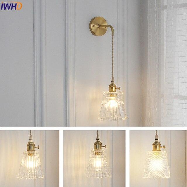 IWHD Nordic Glass Wall Lamp Beside Bedroom Bathroom Mirror Light Japan Style LED Wall Sconces Vintage Edison Lighting Luminaire