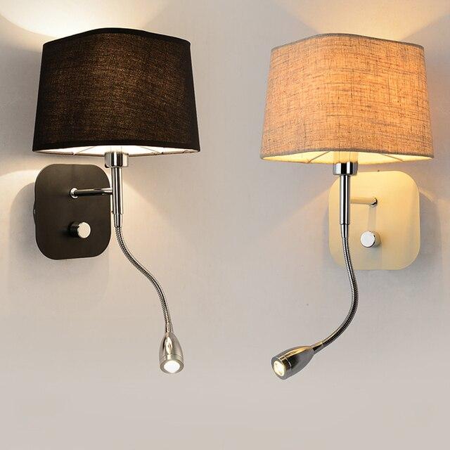 hotel nachtkastje wandkandelaar met led leeslamp slaapkamer nachtlampje stof schaduw moderne schakelaar wandlamp spiegel led arandela