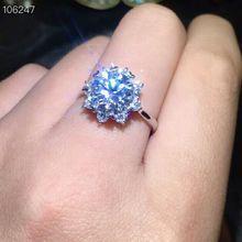 Женское блестящее кольцо MeiBaPJ, классическое простое кольцо с моисанитом из стерлингового серебра 925 пробы, 9 мм, ювелирные украшения для свадьбы