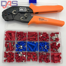 SN-02C in 0.25-2.5mm2 crimping plier hands Crimp tool with 240pcs Vinyl Insulated Ring  Spade Terminal Connector box