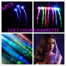 4pcs Light up Hair Clip Extension LED Flashing Fiber Braid Barrette for Party Festival Toy
