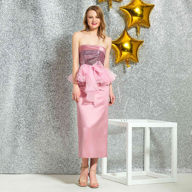 Tanpell strapless   cocktail     dress   pink sequins knee length zipper-up sleeveless gown women party custom sheath   cocktail     dresses