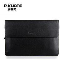 P.KUONE Famous Designer Men Wallets Genuine Leather Clutch Bag Big Capacity Purse Messenger Bag Casual Evening Bag Coin Purse