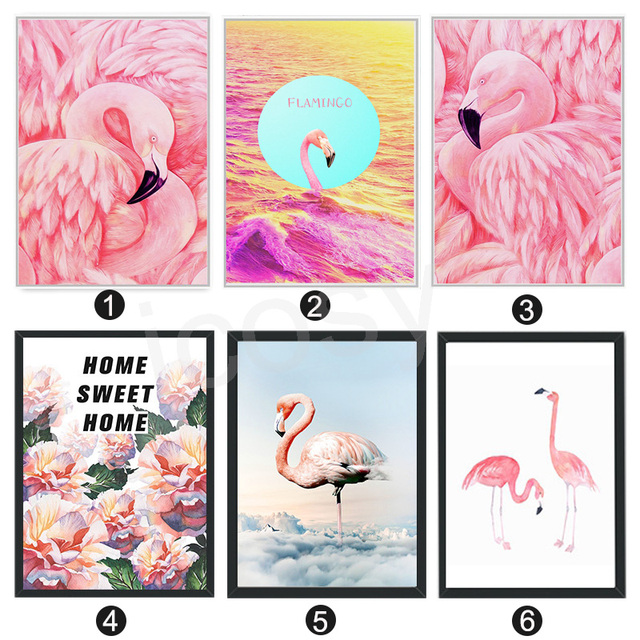 Nordic Canvas Wall Art Painting Flamingo Posters And Print Pictures ...