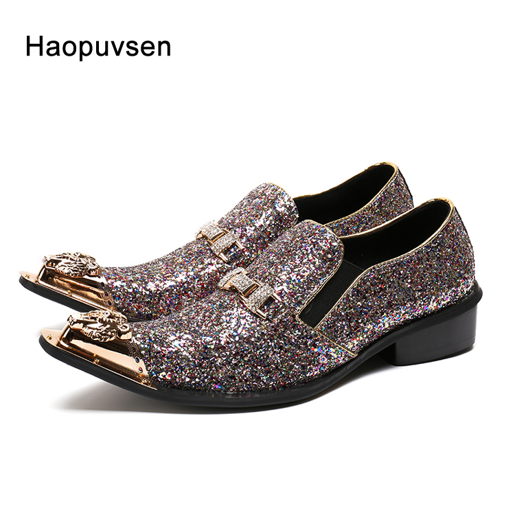 2018 brand Haopuvsen New Handmade Shinny Glitter Men Wedding shoes Fashion loafers Luxury party men shoes