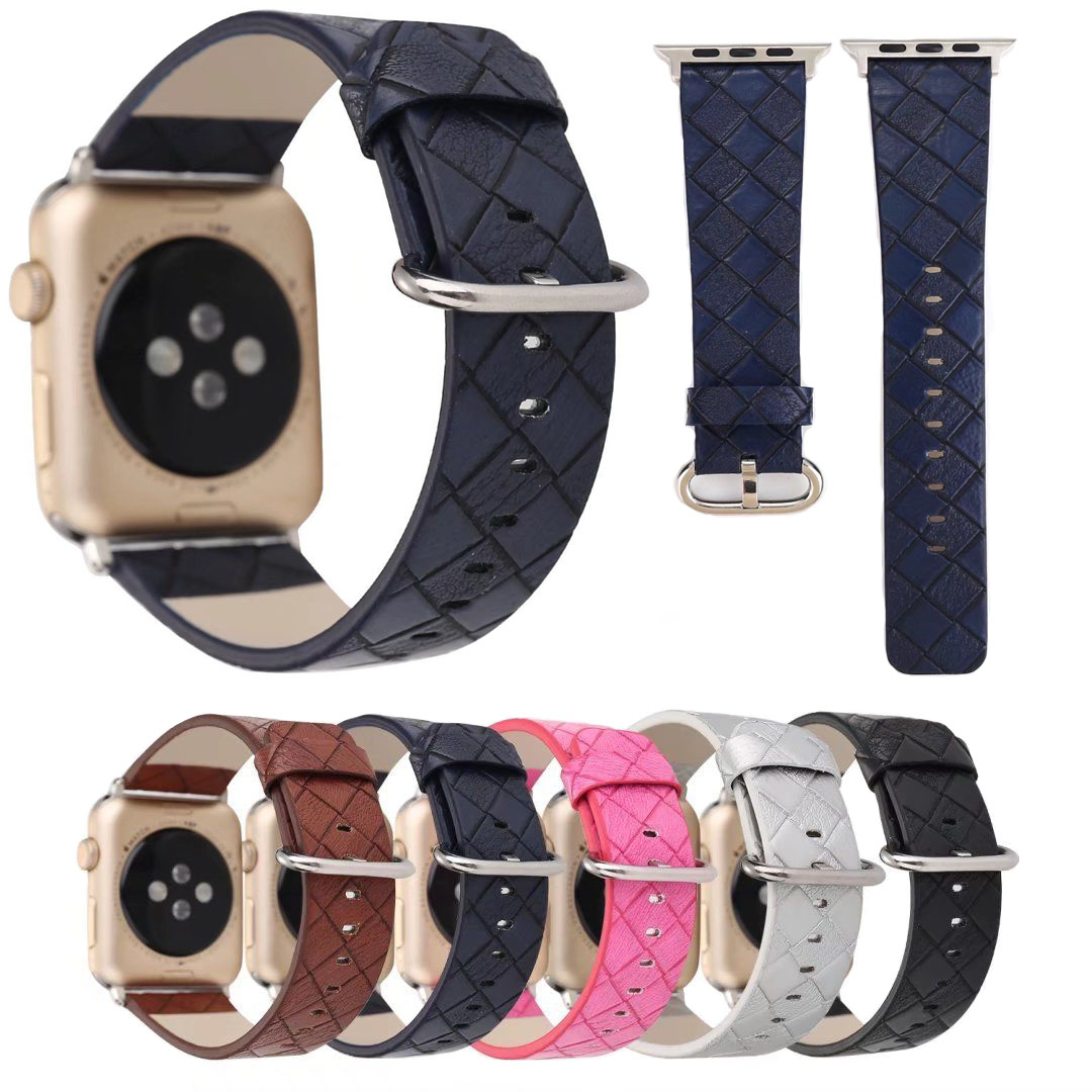 Luxury Striped Genuine Leather Strap for Apple Watch Band