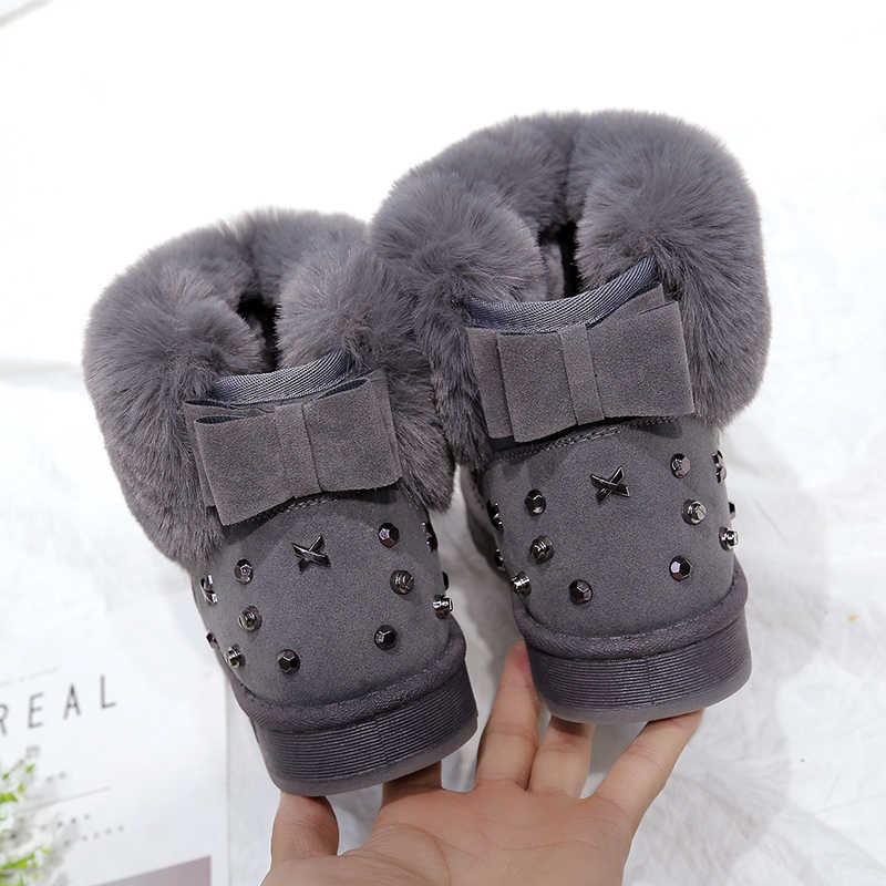 Style Fashion Thick Fur Women Snow Boots Round Toe Waterproof Female Flat High Top Winter Boots Sewing Snow Boots