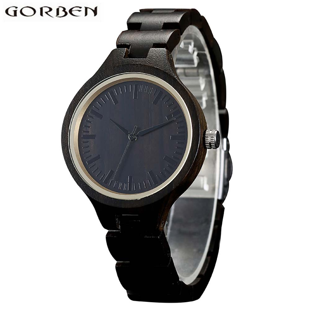 Vintage Wooden Case Black Wood Watch For Women Fashion Wooden Band Bracelet Clasp Quartz Ladies Watches Analog