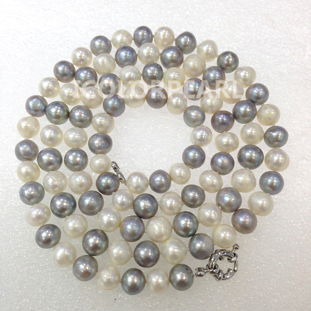 90CM 7-8mm White And Grey Nearround Real Natural Freshwater Pearl Jewelry Sweater Necklace. Special Designed For You!