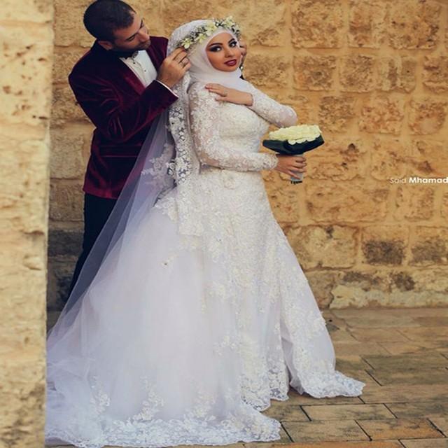 29865eb76789 2015 New Arrival Saudi Arabia Muslim Wedding Dresses High Neck Beaded Long  Sleeves Women Wear Bridal Gown Free Shipping