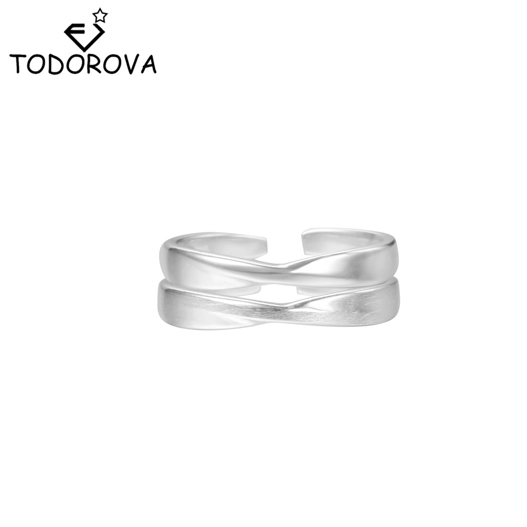 Todorova Minimalist Opening Ring Elegant Cross Ring for Women Simple Jewelry Party Engagement Female Finger Ring Adjustable Size