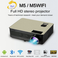 Poner Saund M5 series LED HD projector 3D Proyector LCD Bluetooth HIFI speakers Selectable Android 6.0 M5 WiFi Vs led96