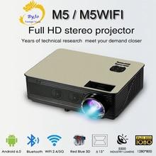 Poner Saund M5 시리즈 LED HD 프로젝터 3D Proyector LCD 블루투스 HIFI 스피커 선택 가능한 안드로이드 6.0 M5 WiFi Vs led96