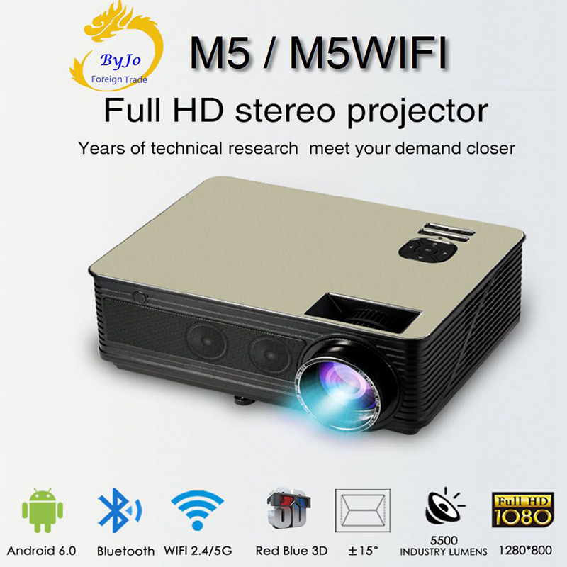Poner Saund M5 series <font><b>LED</b></font> HD projector 3D Proyector LCD Bluetooth HIFI speakers Selectable Android 6.0 M5 WiFi Vs led96 image