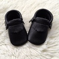 Black Baby First Walkers Genuine Baby Moccasins